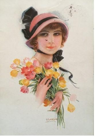 foto 16 cartolina ragazza con i fiori
